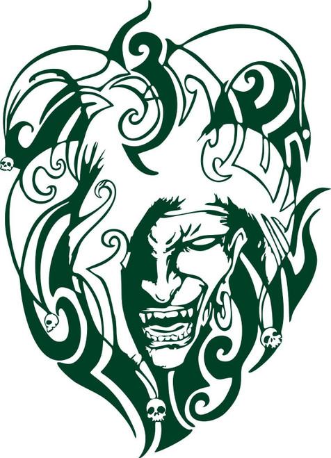 Jester Clown Tribal Skull Medieval Car Truck Laptop Window Vinyl Decal Sticker Green