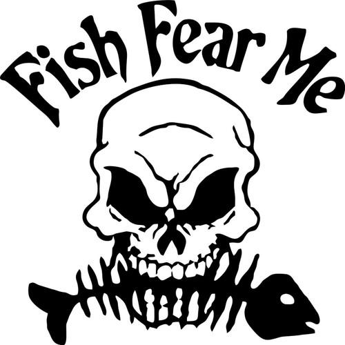 Fish Fear Me Reaper Skull Skeleton Car Boat Truck Window Vinyl Decal Sticker Black