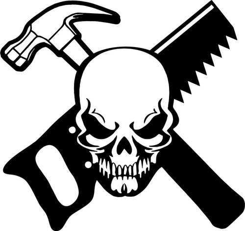 Carpenter Skull Construction Worker Builder Car Truck Window Vinyl Decal Sticker Black