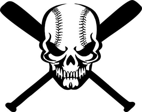 Skull Baseball Bat Game Sports Ball Car Window Laptop Vinyl Decal Sticker Black