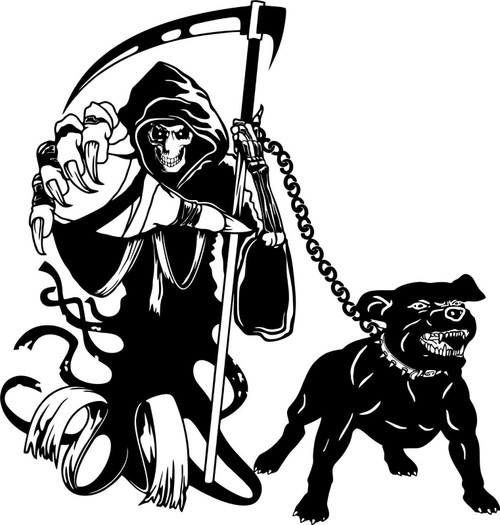 Grim Reaper Dog Chain Scythe Zombie Monster Window Laptop Vinyl Decal Sticker Black