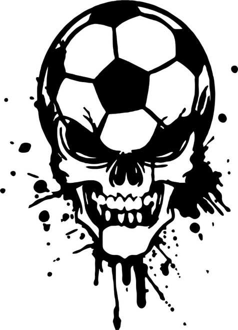 Soccer Skull Sports Game Football Car Truck Window Laptop Vinyl Decal Sticker Black