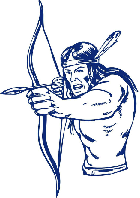 Native American Indian Warrior Bow Hunter Truck Window Vinyl Decal Sticker Blue