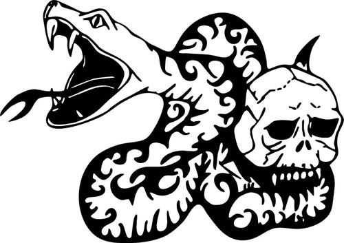 Snake Skull Bite Fang Car Truck Window Laptop Vinyl Decal Sticker Black