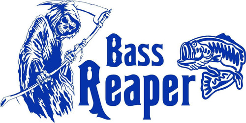 Bass Grim Reaper Fish Fishing Car Truck Window Vinyl Decal Sticker Blue