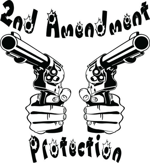 2nd Amendment Hand Gun Protection Car Truck Window Laptop Vinyl Decal Sticker Black