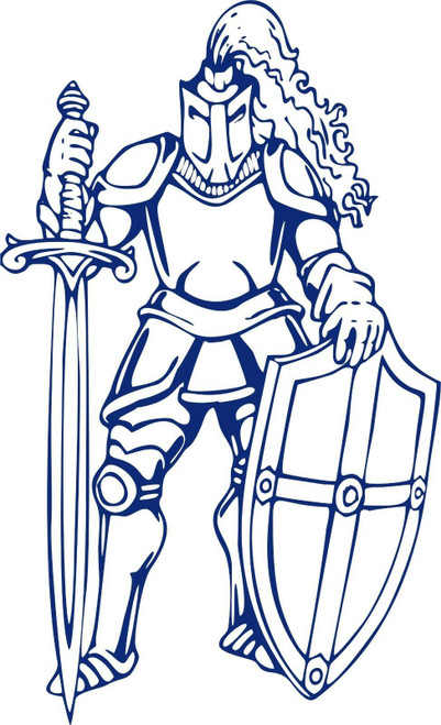 Knight Warrior Dragon Slayer Sword Car Truck Window Door Vinyl Decal Sticker Blue