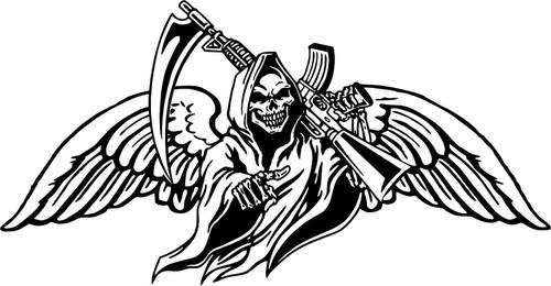 Grim Reaper Gun Scythe Wings Skull Monster Car Truck Window Vinyl Decal Sticker Black and White