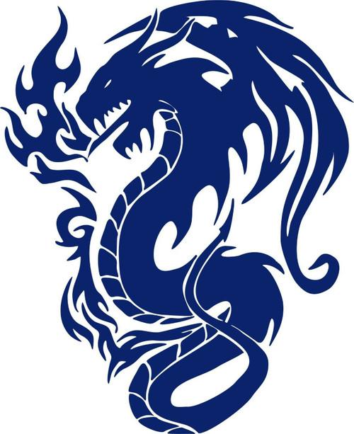 Tribal Dragon Mythical Creature Art Car Truck Window Laptop Vinyl Decal Sticker blue