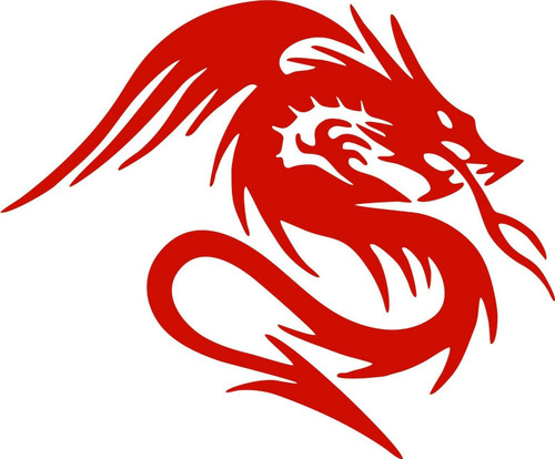 Dragon With Wings Tail Fantasy Beast Car Truck Window Laptop Vinyl Decal Sticker Red