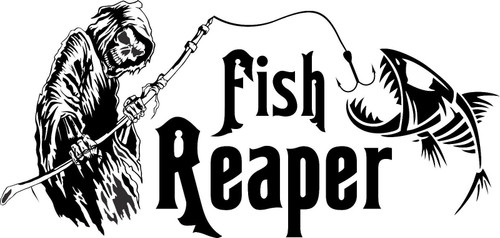 Grim Reaper Skeleton Fish Fishing Car Boat Truck Window Vinyl Decal Sticker Black