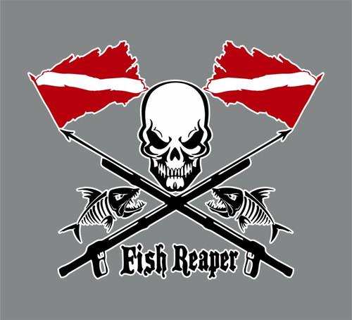 Fish Reaper Skull Diver Down Flag Speargun Car Boat Truck Vinyl Decal Sticker Red and Black