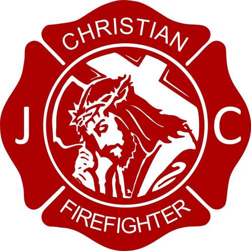 Cross Jesus Christ Firefighter Christian Fireman Car Truck Window Vinyl Decal Red