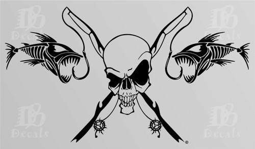 Fishing Skull Skeleton Fish Rod Reel Car Truck Window Vinyl Decal Sticker Black