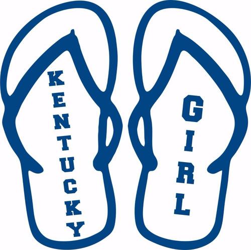 Kentucky Girl Flip Flops Sports Basketball Car Truck Laptop Vinyl Decal Sticker Blue