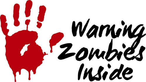 Zombies Warning Monster Walking Dead Car Truck Wall Laptop Vinyl Decal Sticker Red And Black