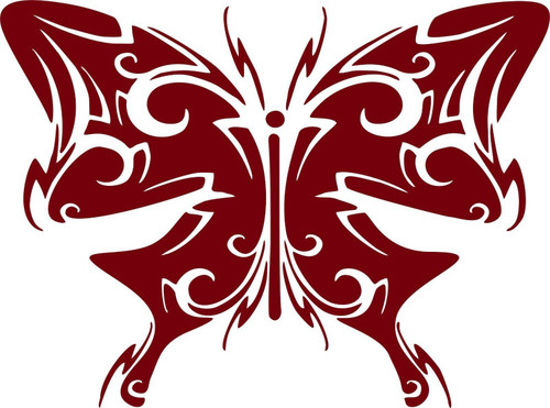 Butterfly Tribal Wings Truck Car Tattoo Window Laptop Vinyl Decal Sticker Red