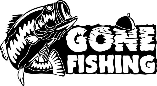 Gone Fishing Bass Fish Car Boat Truck Window Vinyl Decal Sticker Black