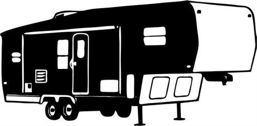 Camping 5th Wheel Camper Car Truck Window Trailer Laptop Vinyl Decal Sticker Black