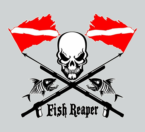 Fish Reaper Skull Diver Flag Speargun Car Boat Truck Window Vinyl Decal Sticker Red and Black