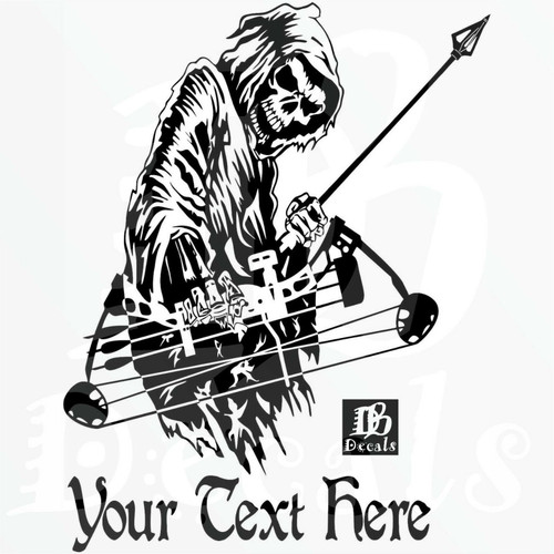 Custom Grim Reaper Bow Archery Hunting Deer Car Truck Window Vinyl Decal Sticker Black