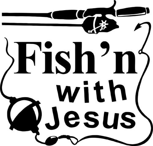 Fishing With Jesus Christ Christian Car Truck Window Laptop Vinyl Decal Sticker Black