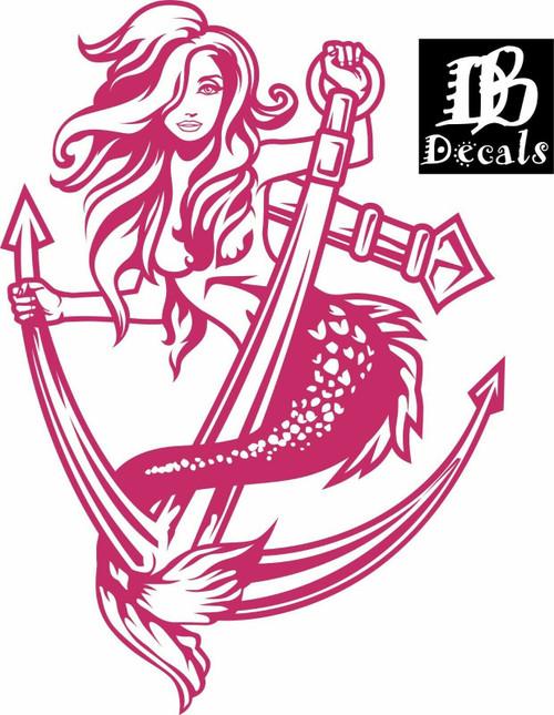 Sexy Mermaid Girl Lady Anchor Fantasy Car Boat Truck Window Vinyl Decal Sticker Red