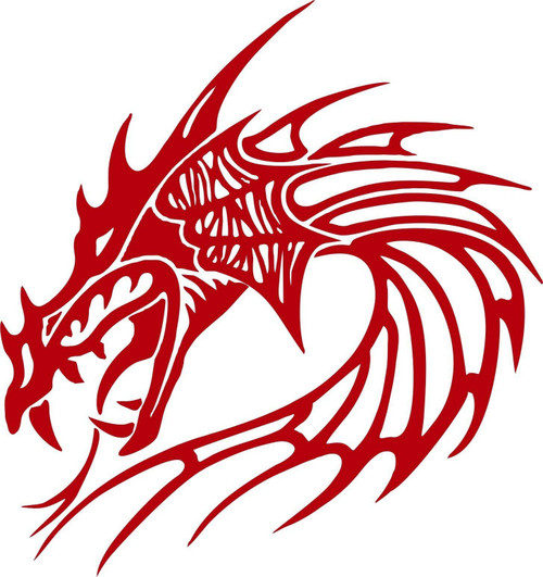 Dragon Head Mythical Creature Beast Car Truck Window Laptop Vinyl Decal Sticker Red