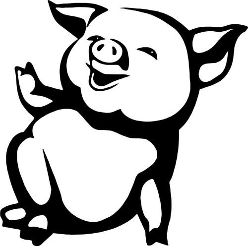 Funny Pig Farm Animal Car Truck Window Laptop Vinyl Decal Sticker Black