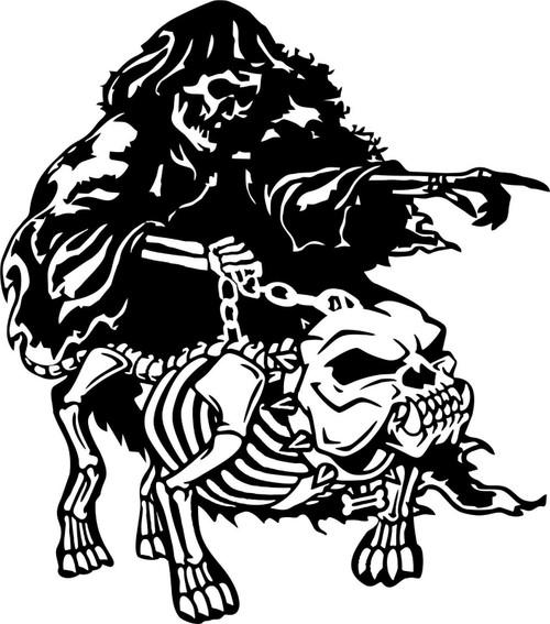Grim Reaper Skeleton Attack Dog Car Boat Truck Laptop Window Vinyl Decal Sticker Black