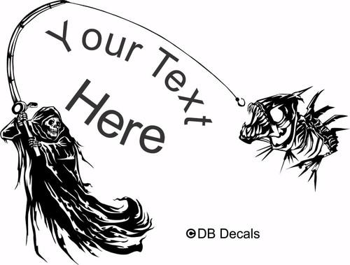 Grim Reaper Skeleton Fish Custom Fishing Car Boat Truck Vinyl Decal Sticker Black