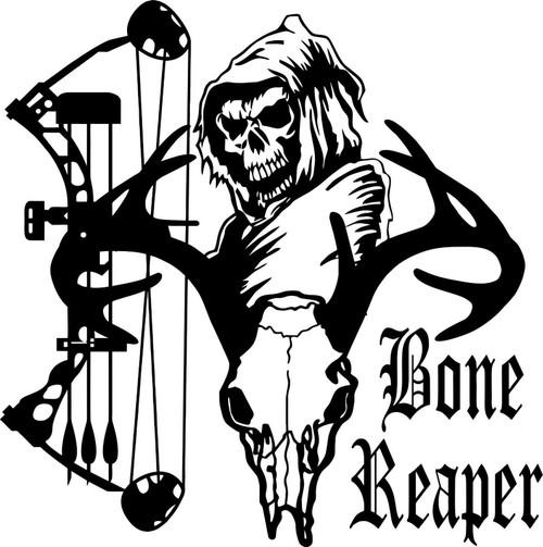 Grim Reaper Bow Arrow Hunter Deer Skull Car Truck Window Vinyl Decal Sticker Black