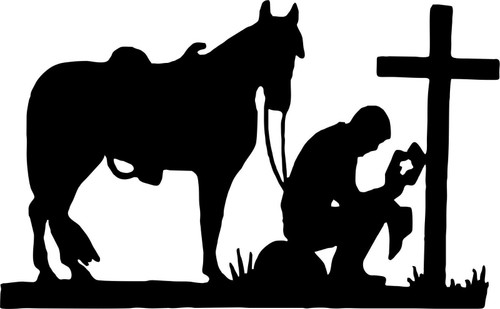 Praying Cowboy Horse Cross Christian Car Truck Window Laptop Vinyl Decal Sticker Black