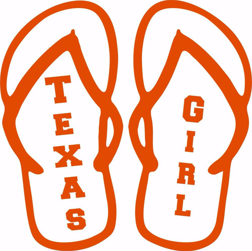 Texas Girl Flip Flops Sports Football Car Truck Laptop Vinyl Decal Sticker