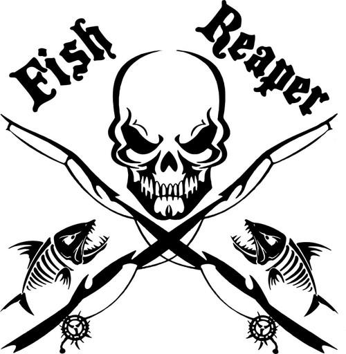 Fish Reaper Skull Fishing Rod Car Boat Truck Window Vinyl Decal Graphic Sticker Black