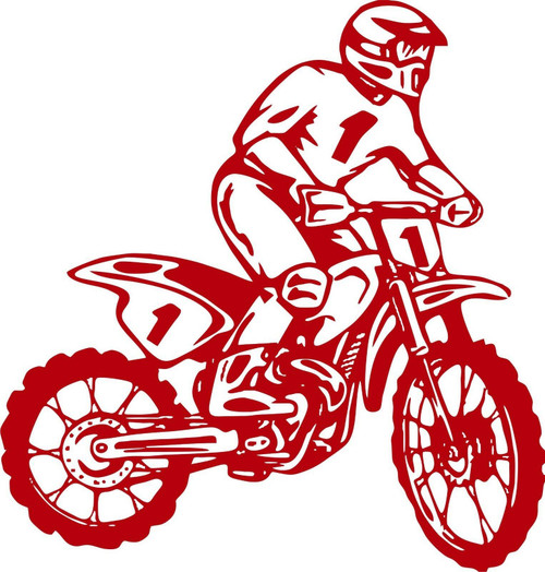 Motorcycle Dirt Bike Motocross Car Truck Window Laptop Vinyl Decal Sticker Red