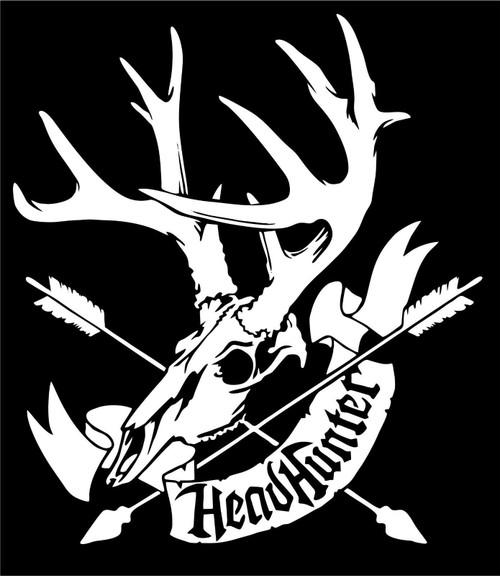 Hunting Head Hunter Deer Bow Arrow Car Truck Window Laptop Vinyl Decal Sticker Black