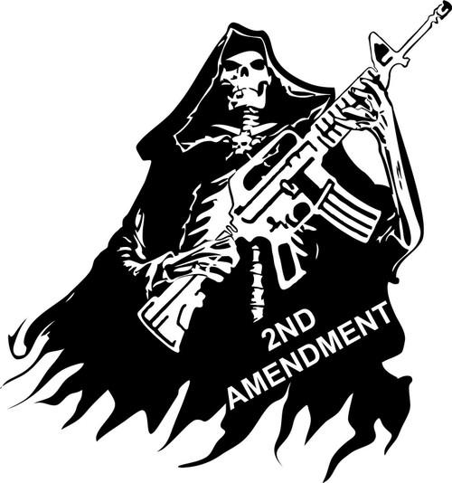 2nd Amendment Skull Grim Reaper Rifle Gun Car Truck Window Vinyl Decal Sticker Black