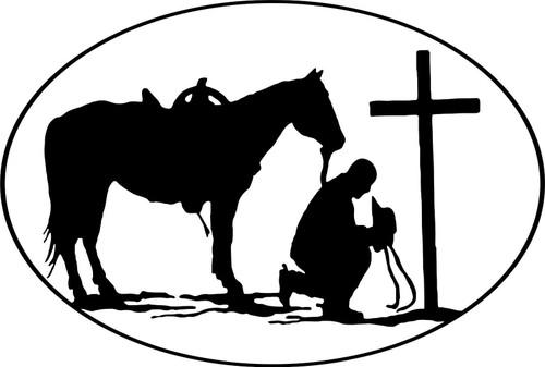Christian Praying Cowboy Rodeo Car Truck Window Wall Laptop Vinyl Decal Sticker Black