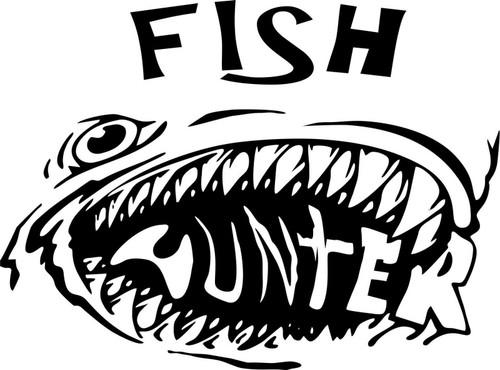 Fish Hunter Fishing Monster Car Truck Window Laptop Vinyl Decal Sticker Black