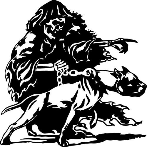 Grim Reaper Pitbull Dog Chain Skull Car Truck Window Vinyl Decal Sticker Black and white