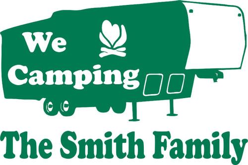 Custom Name Camping 5th Wheel Camper Travel Trailer Window Vinyl Decal Sticker green