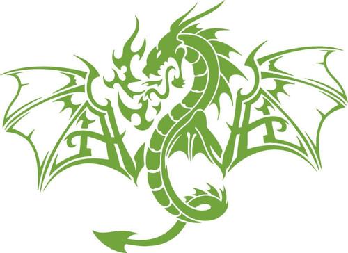Dragon Mythology Mythical Creature Car Truck Window Laptop Vinyl Decal Sticker Green