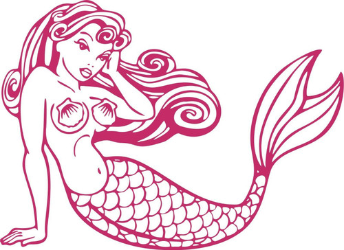 Mermaid Girl Fish Tail Fantasy Fairy Car Truck Window Laptop Vinyl Decal Sticker Red