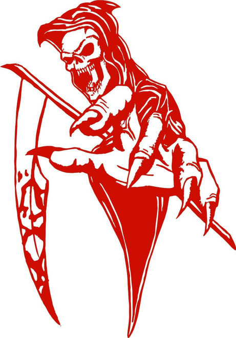 Grim Reaper Scythe Skull Creature Car Truck Window Laptop Vinyl Decal Sticker Red