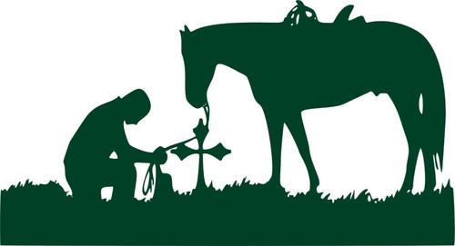Christian Cowboy Horse Cross Praying Car Truck Window Vinyl Decal Sticker Green