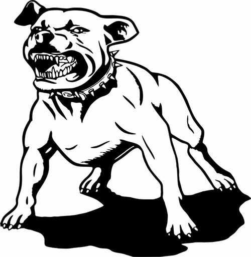 Dog Pit Bull Pet Animal Attack Car Hood Boat Truck Window Vinyl Decal Sticker Black And White