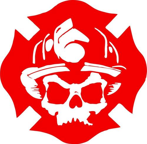 Fireman Maltese Cross Firefighter Skull Car Truck Window Vinyl Decal Sticker Red
