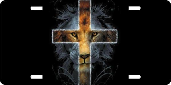 Lion of Judah Yeshua Lamb Lord Jesus Christ Cross Christian License Plate Car Truck Tag