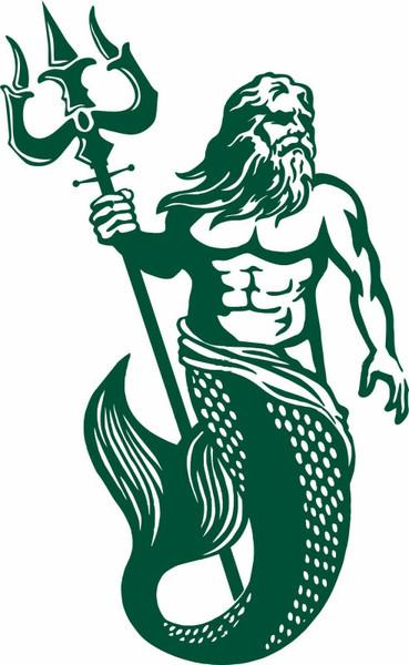Poseidon Merman Mermaid Aqua Man Boat Greek god Fantasy Car Truck Vinyl Decal  Green